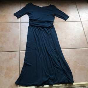 Anthro + Bordeaux Blue Retro Pleated Dress Medium